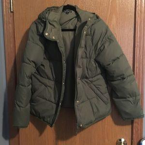 J. Crew Mercantile puffer coat in deep moss, large
